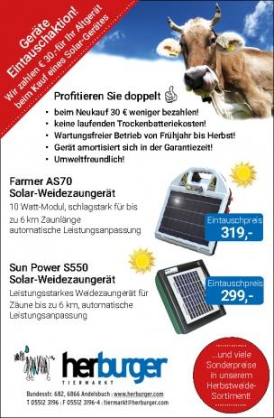 Eintauschprämie für Solar-Weidezaungeräte!
